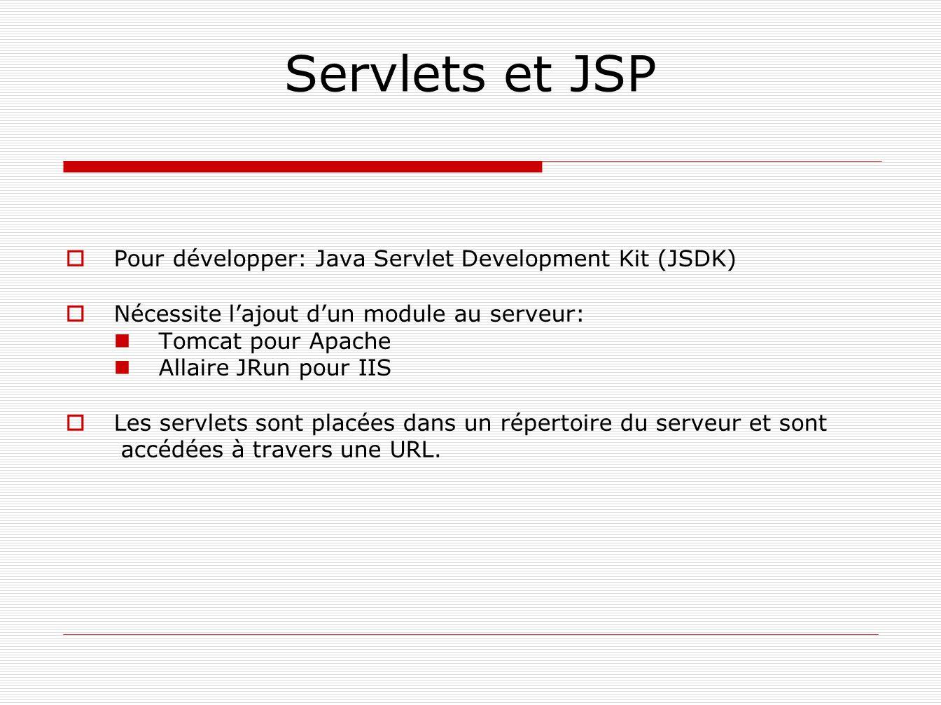 Servlets et JSP Pour développer: Java Servlet Development Kit (JSDK) Nécessite lajout dun module au serveur: Tomcat pour Apache Allaire JRun pour IIS