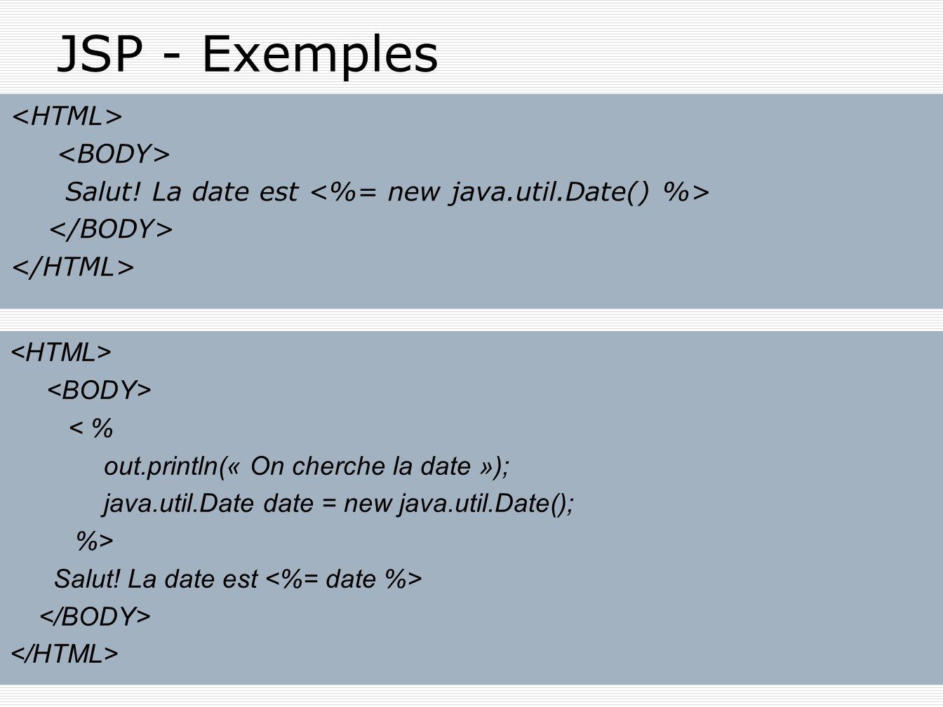 JSP - Exemples Salut! La date est < % out.println(« On cherche la date »); java.util.Date date = new java.util.Date(); %> Salut! La date est