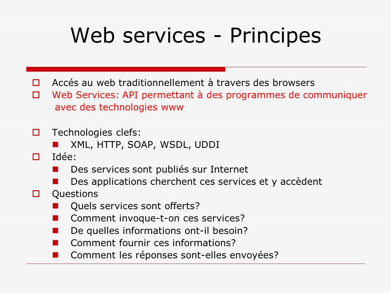 Web services - Principes Accés au web traditionnellement à travers des browsers Web Services: API permettant à des programmes de communiquer avec des