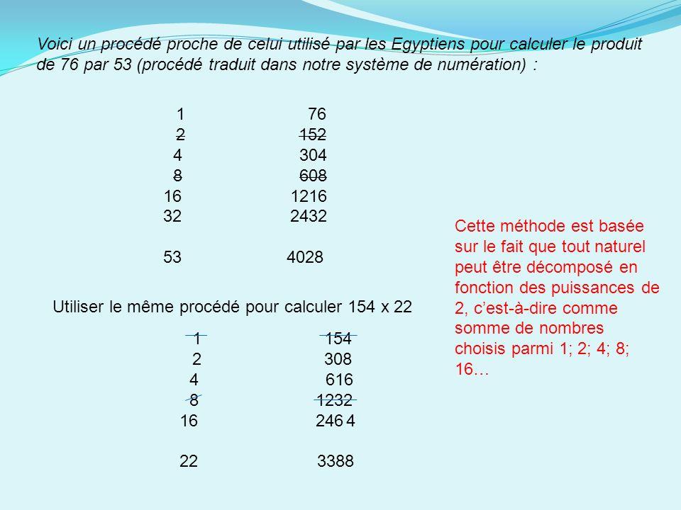 Voici un procédé proche de celui utilisé par les Egyptiens pour calculer le produit de 76 par 53 (procédé traduit dans notre système de numération) : 1 76 2 152 4 304 8 608 16 1216 32 2432 53 4028 Utiliser le même procédé pour calculer 154 x 22 1 154 2 308 4 616 8 1232 16 2464 22 3388 Cette méthode est basée sur le fait que tout naturel peut être décomposé en fonction des puissances de 2, cest-à-dire comme somme de nombres choisis parmi 1; 2; 4; 8; 16…