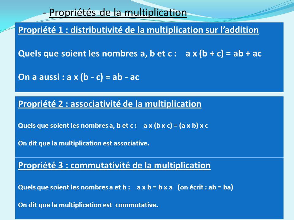 - Propriétés de la multiplication Propriété 1 : distributivité de la multiplication sur laddition Quels que soient les nombres a, b et c : a x (b + c) = ab + ac On a aussi : a x (b - c) = ab - ac Propriété 2 : associativité de la multiplication Quels que soient les nombres a, b et c : a x (b x c) = (a x b) x c On dit que la multiplication est associative.