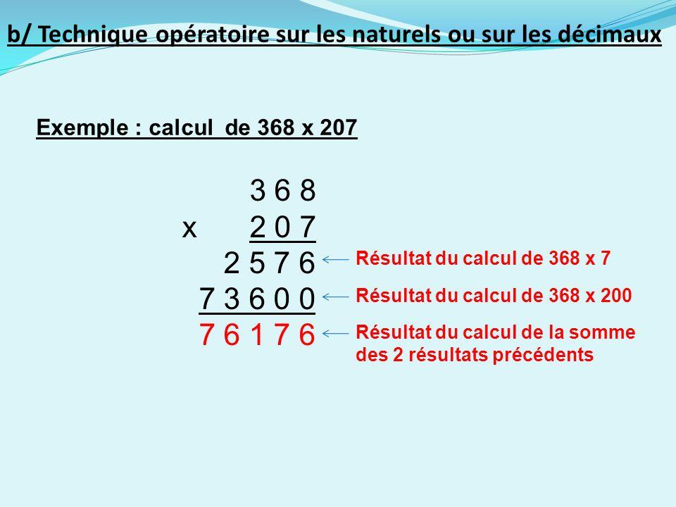 b/ Technique opératoire sur les naturels ou sur les décimaux Exemple : calcul de 368 x 207 Résultat du calcul de 368 x 7 3 6 8 x2 0 7 2 5 7 6 7 3 6 0 0 7 6 1 7 6 Résultat du calcul de 368 x 200 Résultat du calcul de la somme des 2 résultats précédents