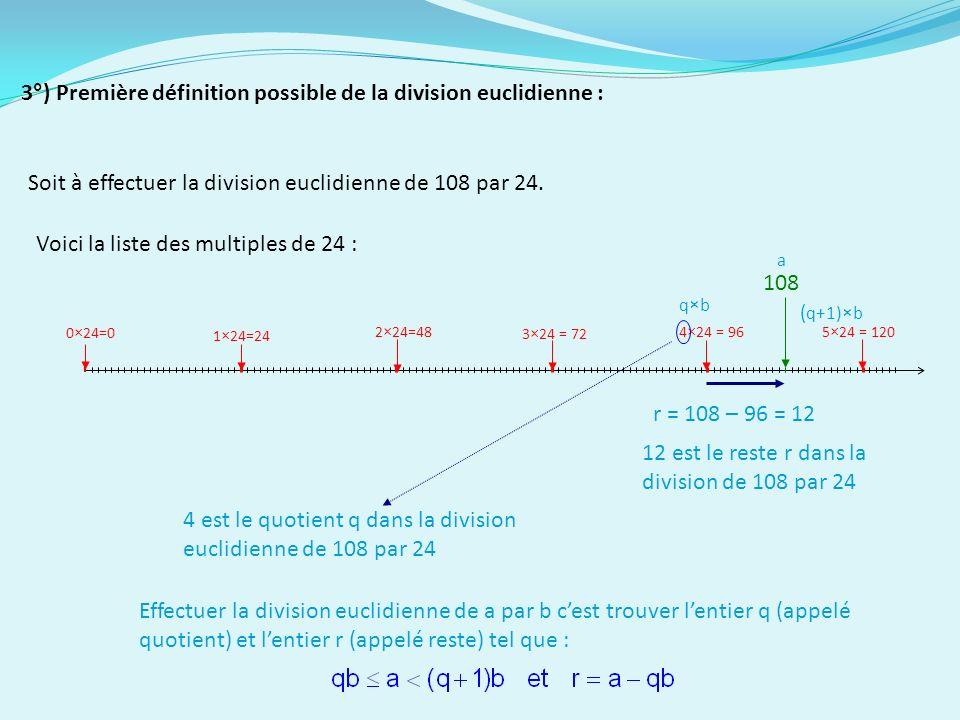 Soit à effectuer la division euclidienne de 108 par 24.