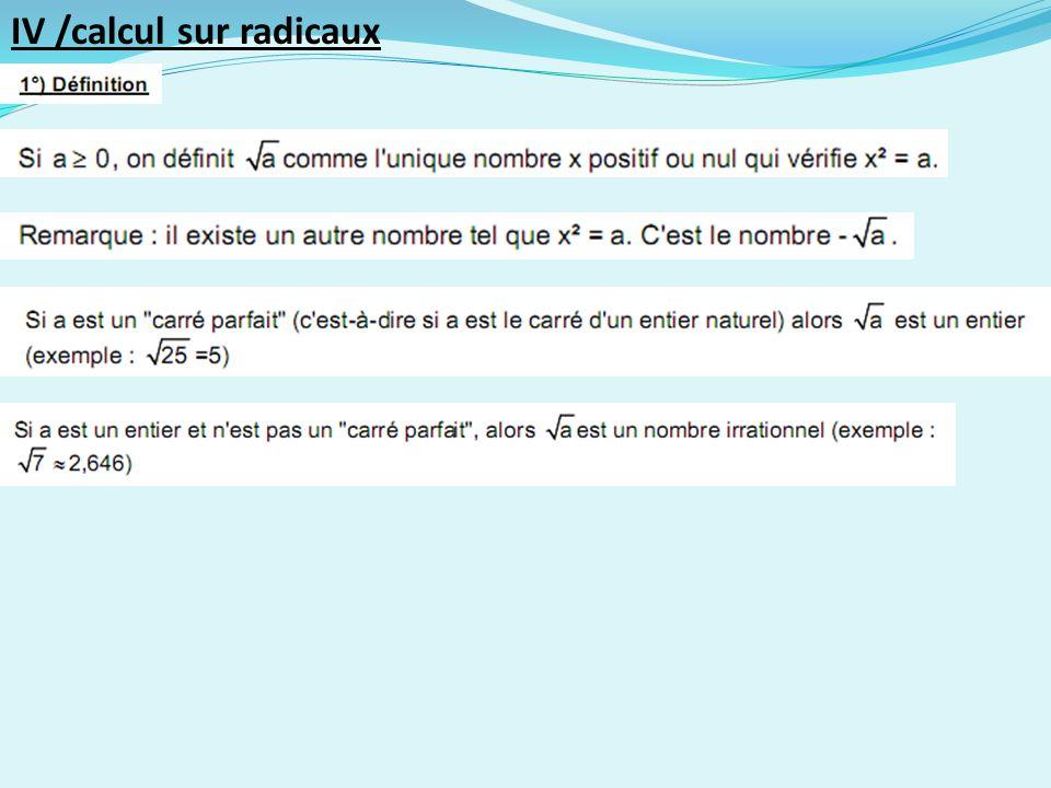 IV /calcul sur radicaux