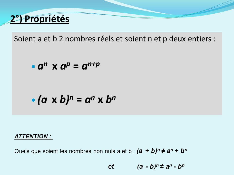 2°) Propriétés Soient a et b 2 nombres réels et soient n et p deux entiers : a n x a p = a n+p (a x b) n = a n x b n ATTENTION : Quels que soient les nombres non nuls a et b : (a + b) n a n + b n et (a - b) n a n - b n
