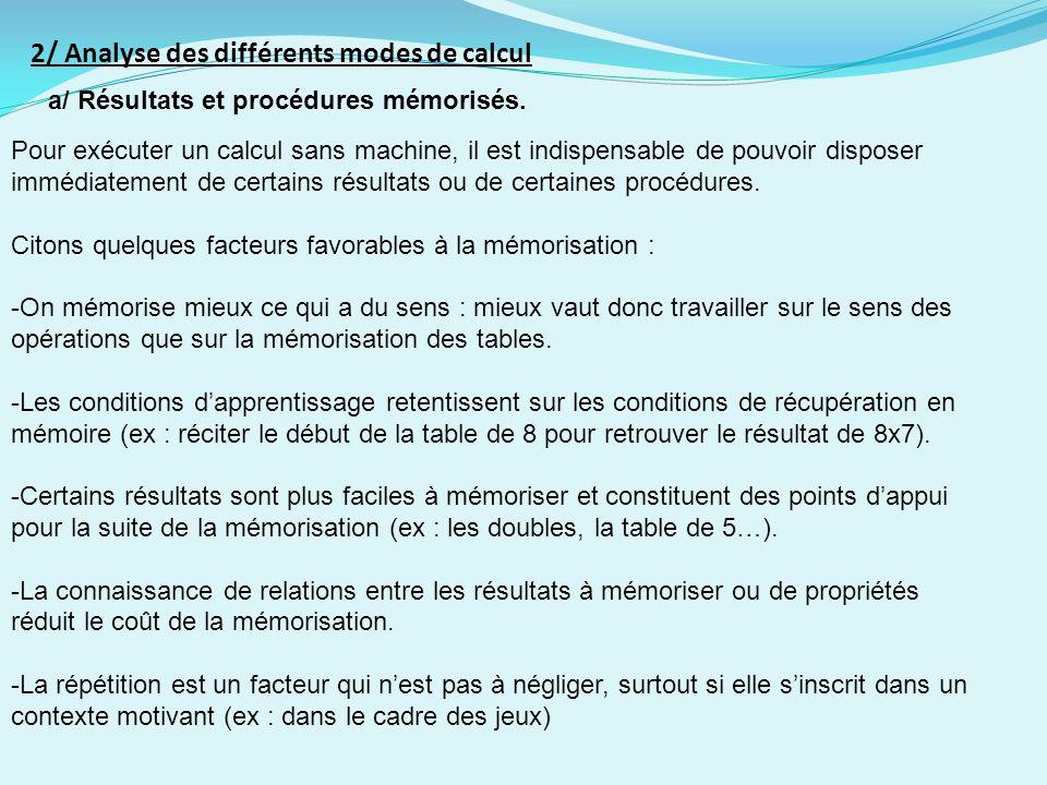 2/ Analyse des différents modes de calcul a/ Résultats et procédures mémorisés.