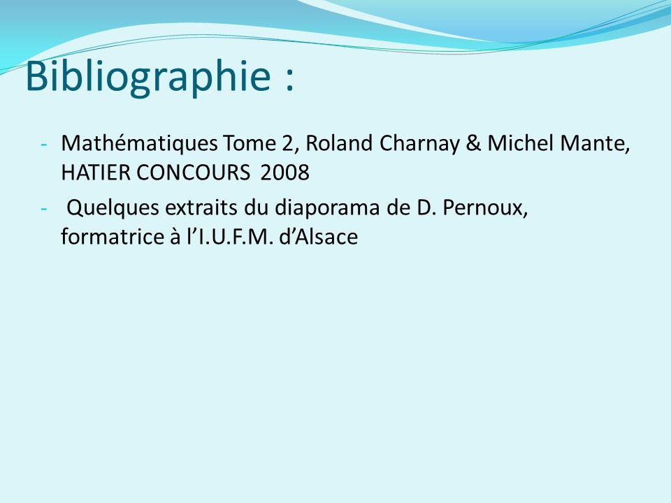 Bibliographie : - Mathématiques Tome 2, Roland Charnay & Michel Mante, HATIER CONCOURS 2008 - Quelques extraits du diaporama de D.