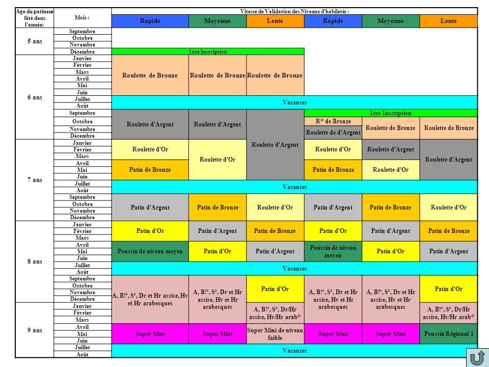 17 Habiletés/Niveau ROULETTE DE BRONZEROULETTE D'ARGENTROULETTE D'ORPATIN DE BRONZEPATIN D'ARGENTPATIN D'OR SANS PATIN Equilibre Arabesque Verticale d