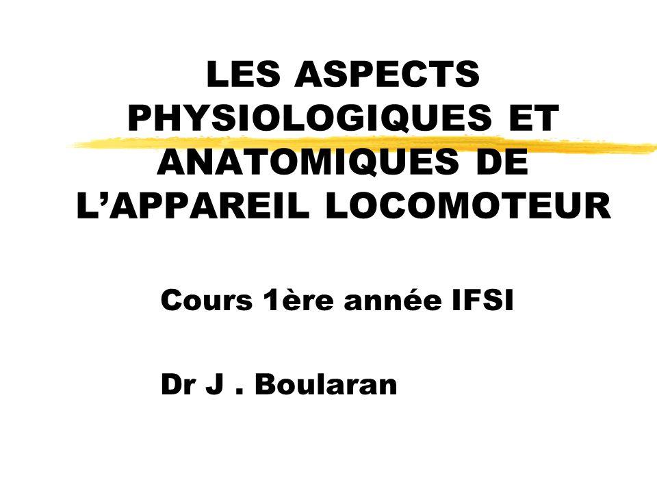 LES ASPECTS PHYSIOLOGIQUES ET ANATOMIQUES DE LAPPAREIL LOCOMOTEUR Cours 1ère année IFSI Dr J. Boularan