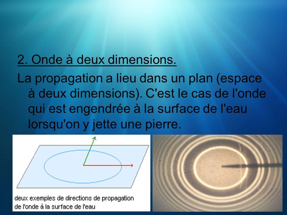 2. Onde à deux dimensions. La propagation a lieu dans un plan (espace à deux dimensions). C'est le cas de l'onde qui est engendrée à la surface de l'e
