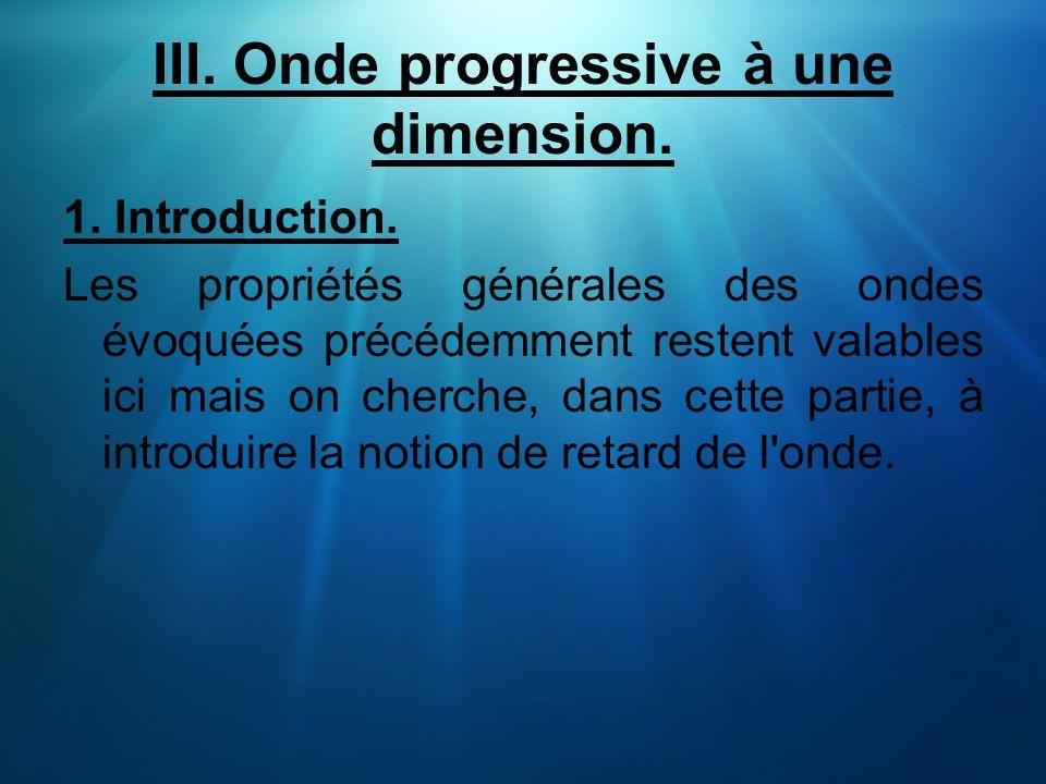 III. Onde progressive à une dimension. 1. Introduction. Les propriétés générales des ondes évoquées précédemment restent valables ici mais on cherche,