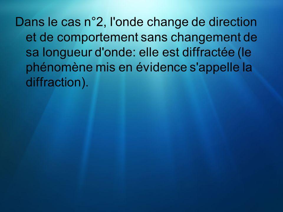 Dans le cas n°2, l'onde change de direction et de comportement sans changement de sa longueur d'onde: elle est diffractée (le phénomène mis en évidenc