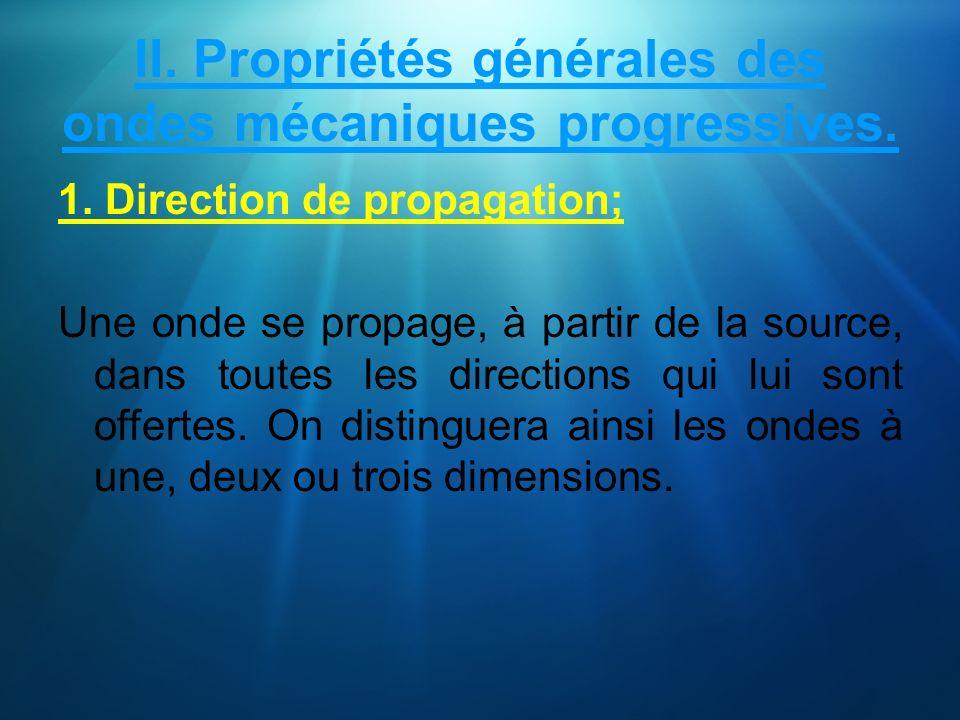 II. Propriétés générales des ondes mécaniques progressives. 1. Direction de propagation; Une onde se propage, à partir de la source, dans toutes les d