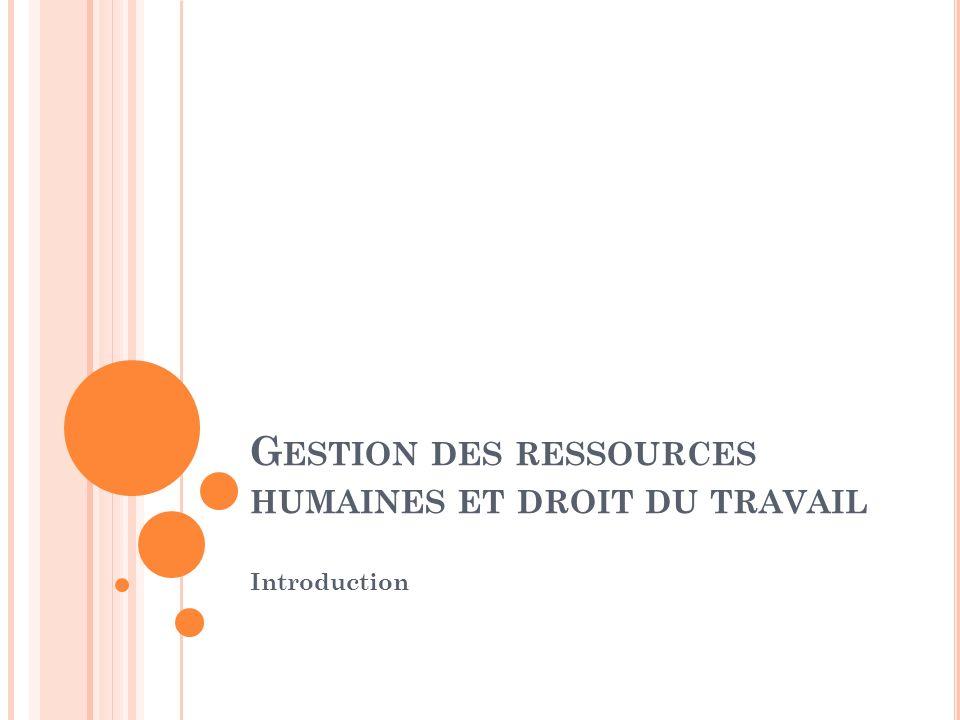 G ESTION DES RESSOURCES HUMAINES ET DROIT DU TRAVAIL Introduction