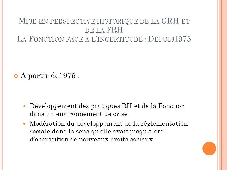 M ISE EN PERSPECTIVE HISTORIQUE DE LA GRH ET DE LA FRH L A F ONCTION FACE À L INCERTITUDE : D EPUIS 1975 A partir de1975 : Développement des pratiques