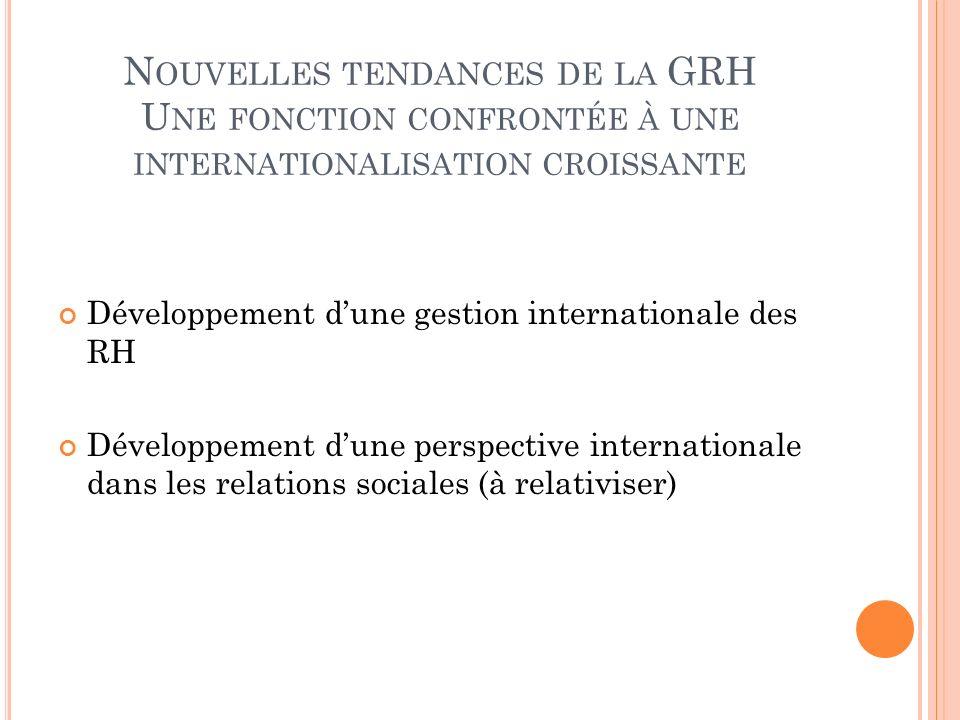 N OUVELLES TENDANCES DE LA GRH U NE FONCTION CONFRONTÉE À UNE INTERNATIONALISATION CROISSANTE Développement dune gestion internationale des RH Dévelop
