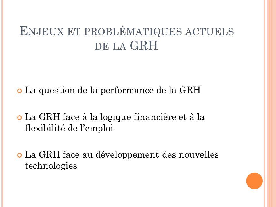 E NJEUX ET PROBLÉMATIQUES ACTUELS DE LA GRH La question de la performance de la GRH La GRH face à la logique financière et à la flexibilité de lemploi