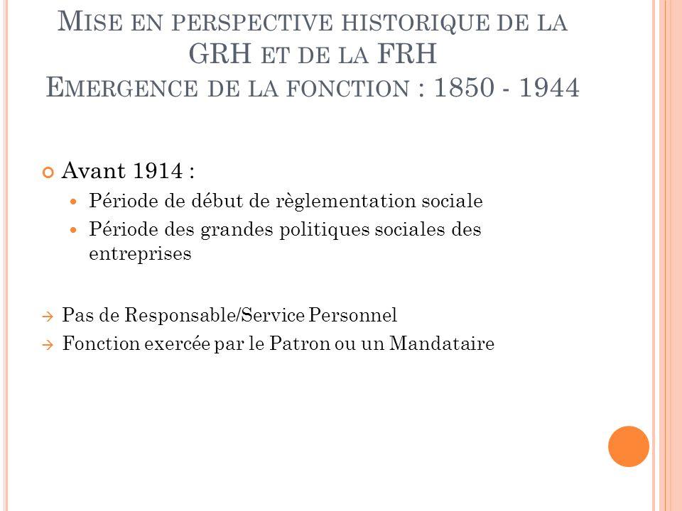 M ISE EN PERSPECTIVE HISTORIQUE DE LA GRH ET DE LA FRH E MERGENCE DE LA FONCTION : 1850 - 1944 Avant 1914 : Période de début de règlementation sociale
