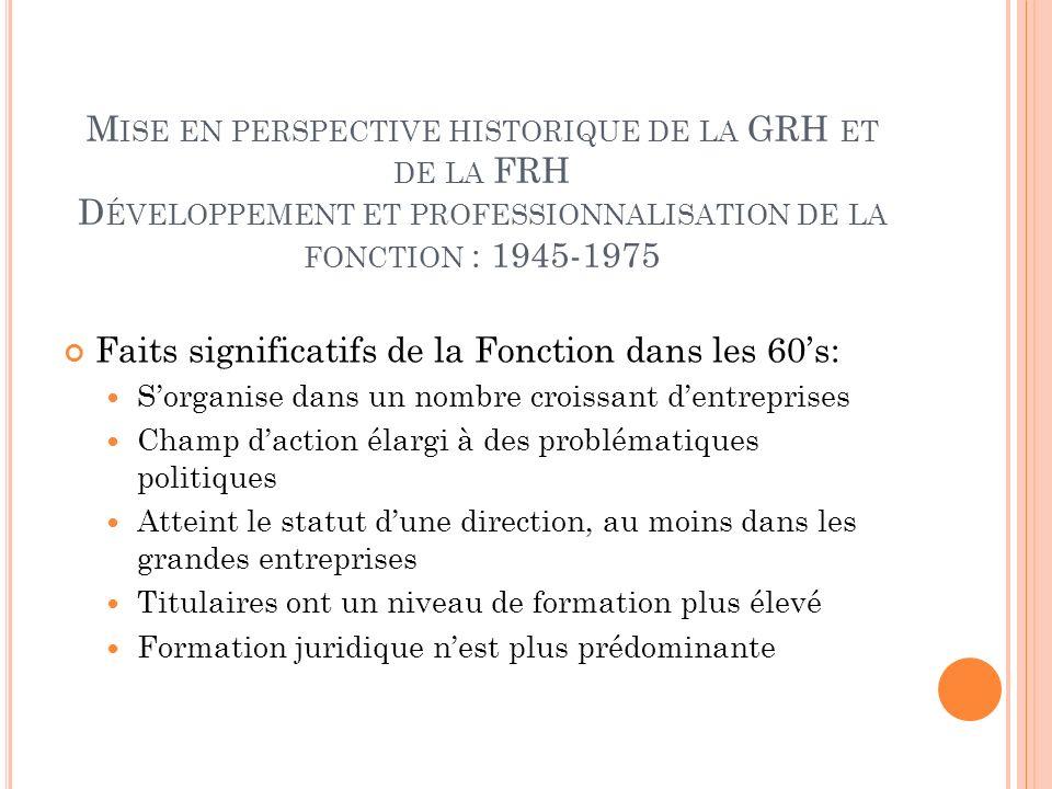 M ISE EN PERSPECTIVE HISTORIQUE DE LA GRH ET DE LA FRH D ÉVELOPPEMENT ET PROFESSIONNALISATION DE LA FONCTION : 1945-1975 Faits significatifs de la Fon