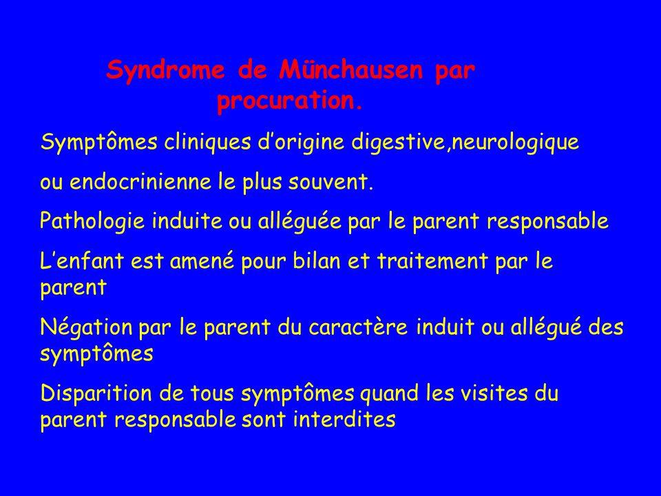 Syndrome de Münchausen par procuration. Symptômes cliniques dorigine digestive,neurologique ou endocrinienne le plus souvent. Pathologie induite ou al