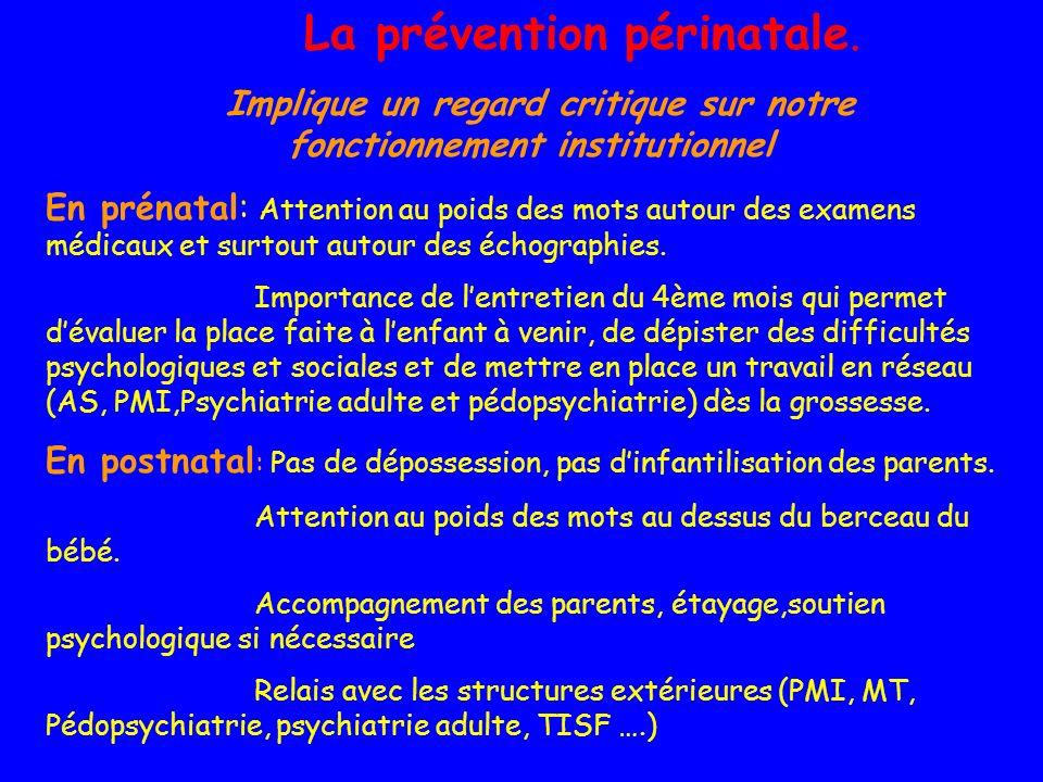 La prévention périnatale. Implique un regard critique sur notre fonctionnement institutionnel En prénatal: Attention au poids des mots autour des exam