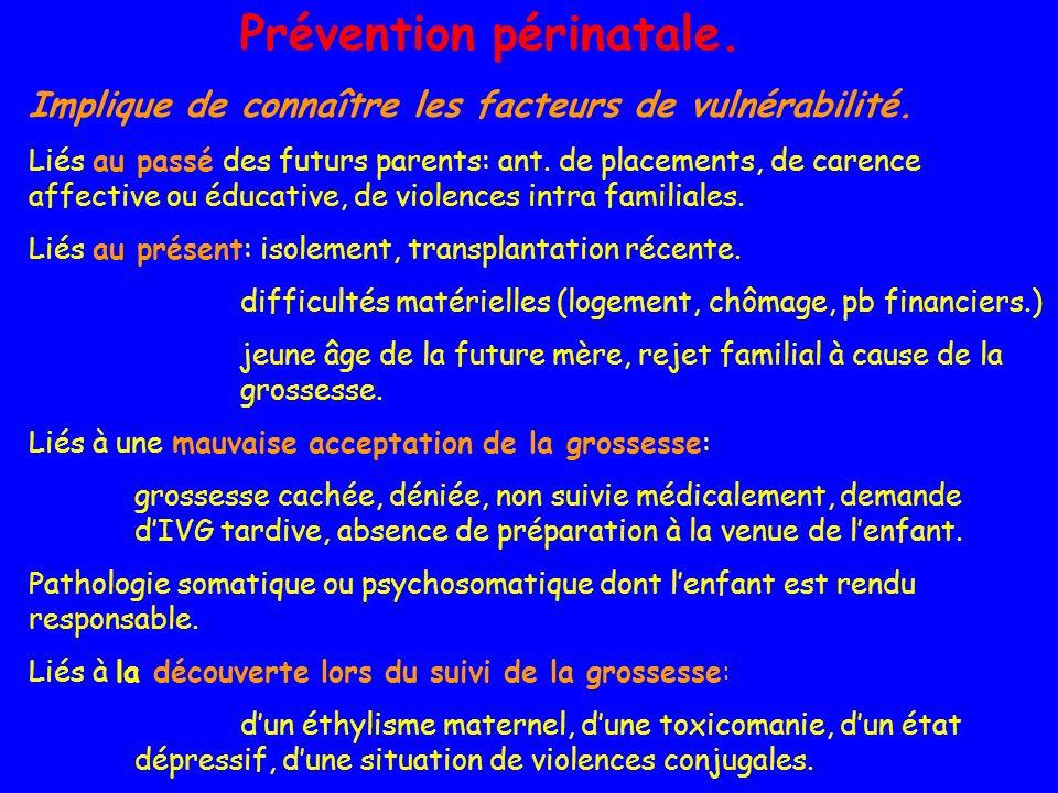 Prévention périnatale. Implique de connaître les facteurs de vulnérabilité. Liés au passé des futurs parents: ant. de placements, de carence affective