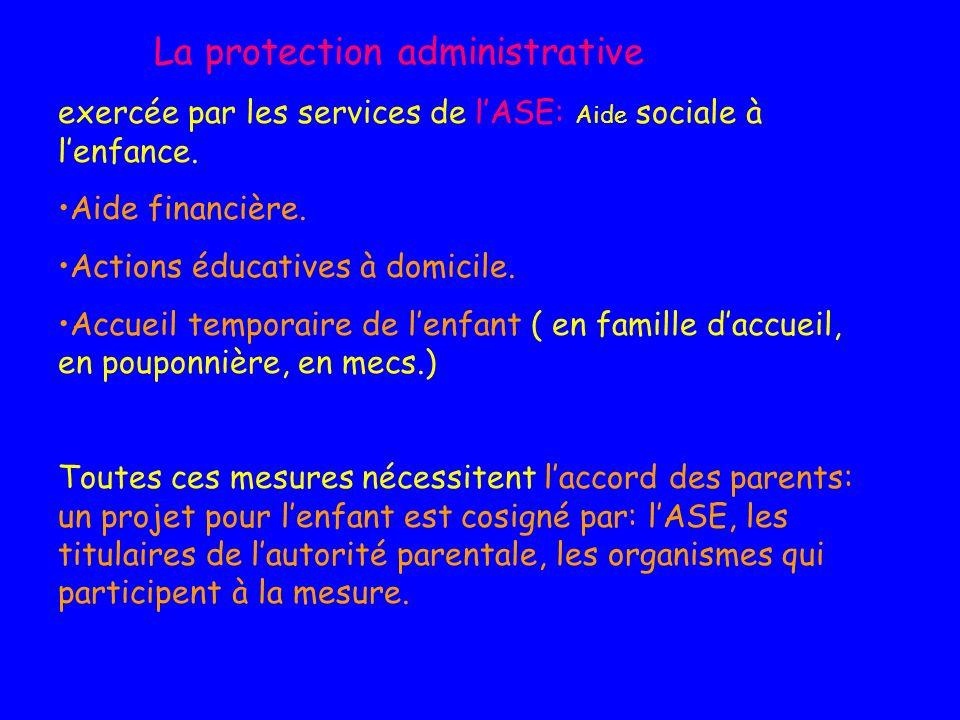 La protection administrative exercée par les services de lASE: Aide sociale à lenfance. Aide financière. Actions éducatives à domicile. Accueil tempor