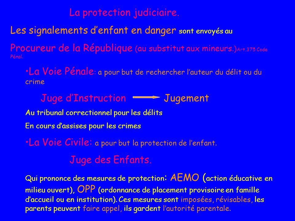 La protection judiciaire. Les signalements denfant en danger sont envoyés au Procureur de la République ( au substitut aux mineurs.) Art.375 Code Péna