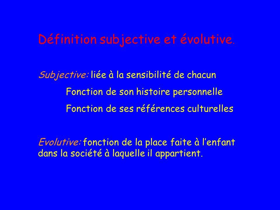 Définition subjective et évolutive. Subjective: liée à la sensibilité de chacun Fonction de son histoire personnelle Fonction de ses références cultur
