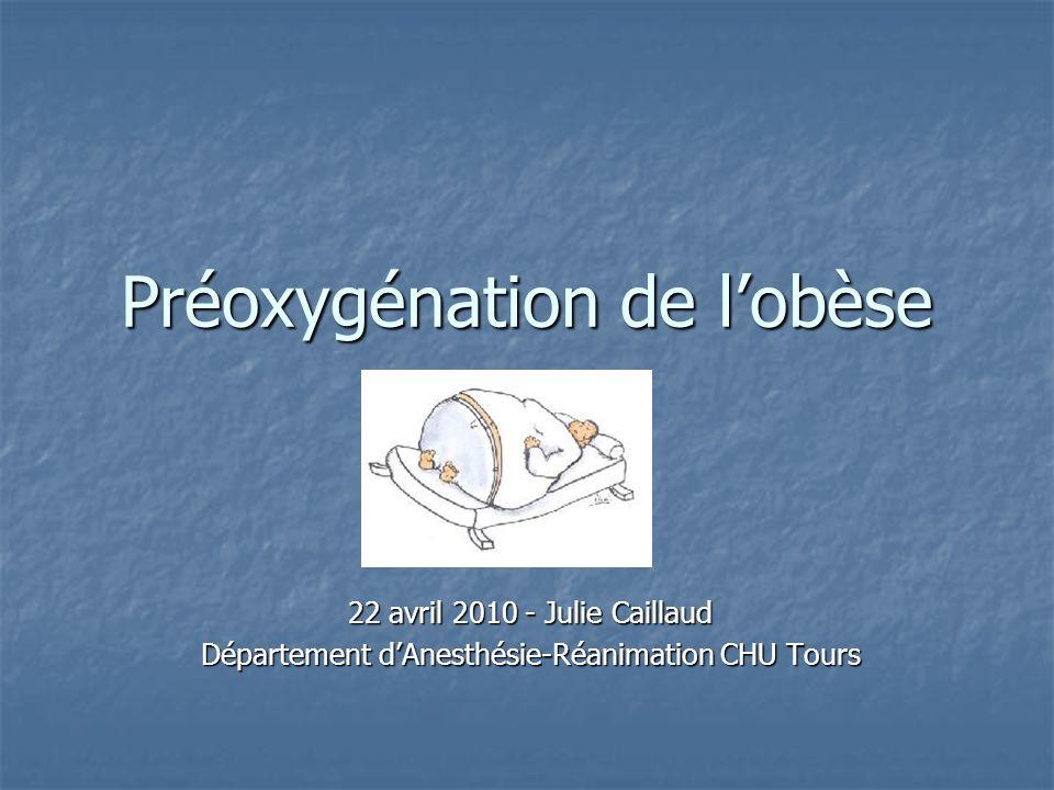 Préoxygénation de lobèse 22 avril 2010 - Julie Caillaud Département dAnesthésie-Réanimation CHU Tours