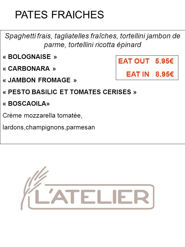 Spaghetti frais, tagliatelles fraîches, tortellini jambon de parme, tortellini ricotta épinard « BOLOGNAISE » « CARBONARA » « JAMBON FROMAGE » « PESTO