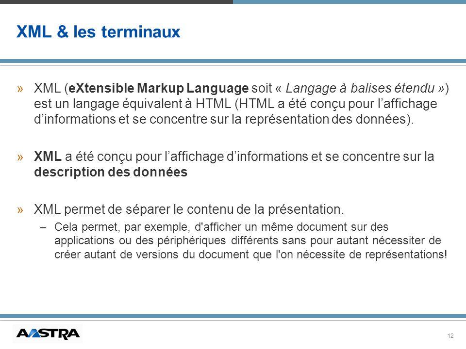 12 XML & les terminaux »XML (eXtensible Markup Language soit « Langage à balises étendu ») est un langage équivalent à HTML (HTML a été conçu pour laf