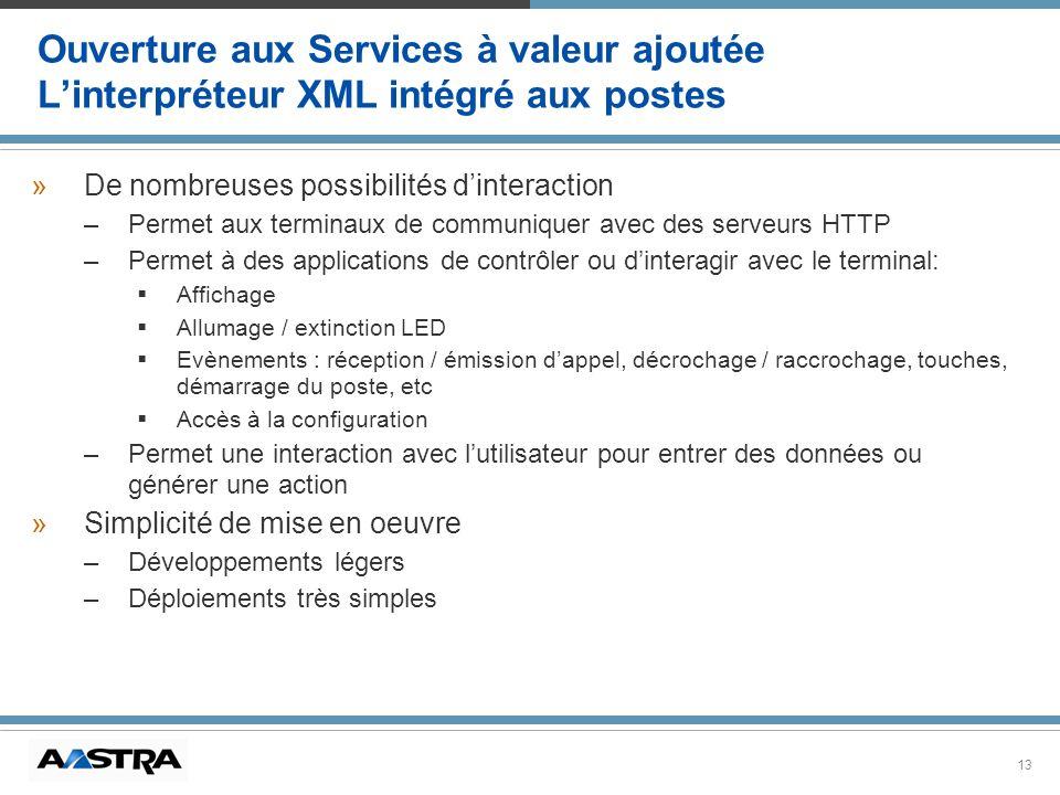 13 Ouverture aux Services à valeur ajoutée Linterpréteur XML intégré aux postes » »De nombreuses possibilités dinteraction – –Permet aux terminaux de