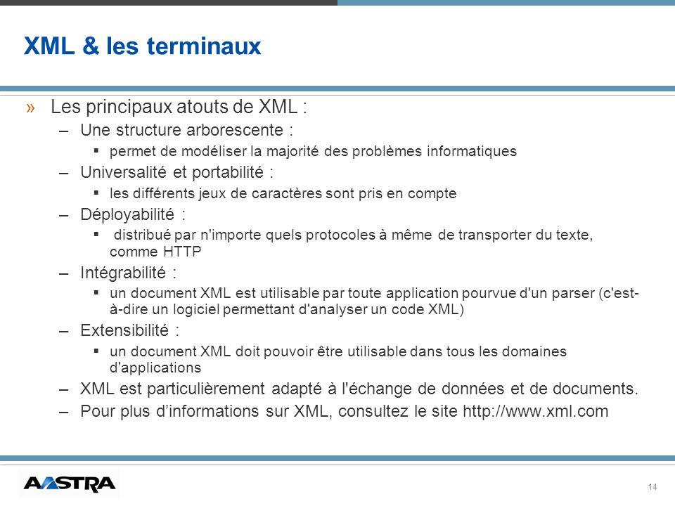 14 XML & les terminaux »Les principaux atouts de XML : –Une structure arborescente : permet de modéliser la majorité des problèmes informatiques –Univ