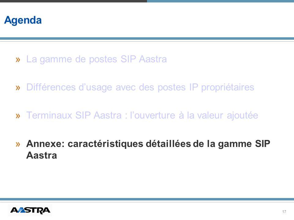 17 Agenda »La gamme de postes SIP Aastra »Différences dusage avec des postes IP propriétaires »Terminaux SIP Aastra : louverture à la valeur ajoutée »