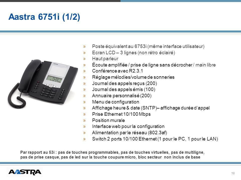 18 Aastra 6751i (1/2) »Poste équivalent au 6753i (même interface utilisateur) »Ecran LCD – 3 lignes (non rétro éclairé) »Haut parleur »Écoute amplifié