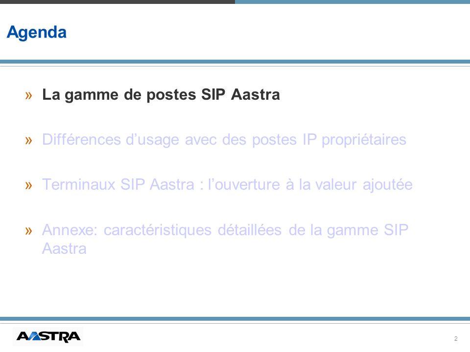2 Agenda »La gamme de postes SIP Aastra »Différences dusage avec des postes IP propriétaires »Terminaux SIP Aastra : louverture à la valeur ajoutée »A