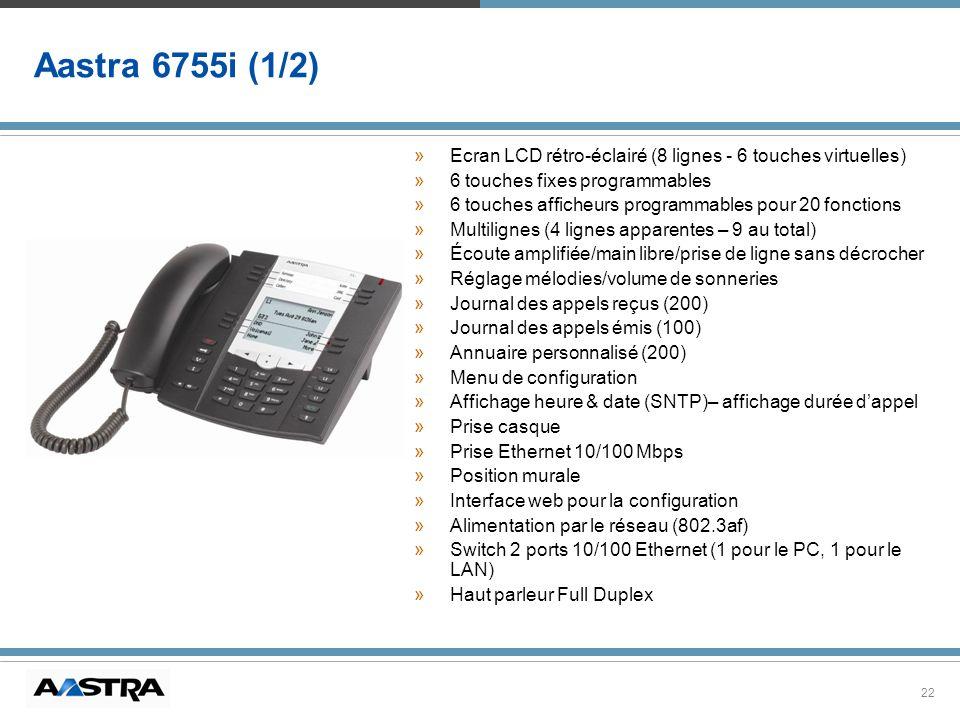 22 Aastra 6755i (1/2) »Ecran LCD rétro-éclairé (8 lignes - 6 touches virtuelles) »6 touches fixes programmables »6 touches afficheurs programmables po