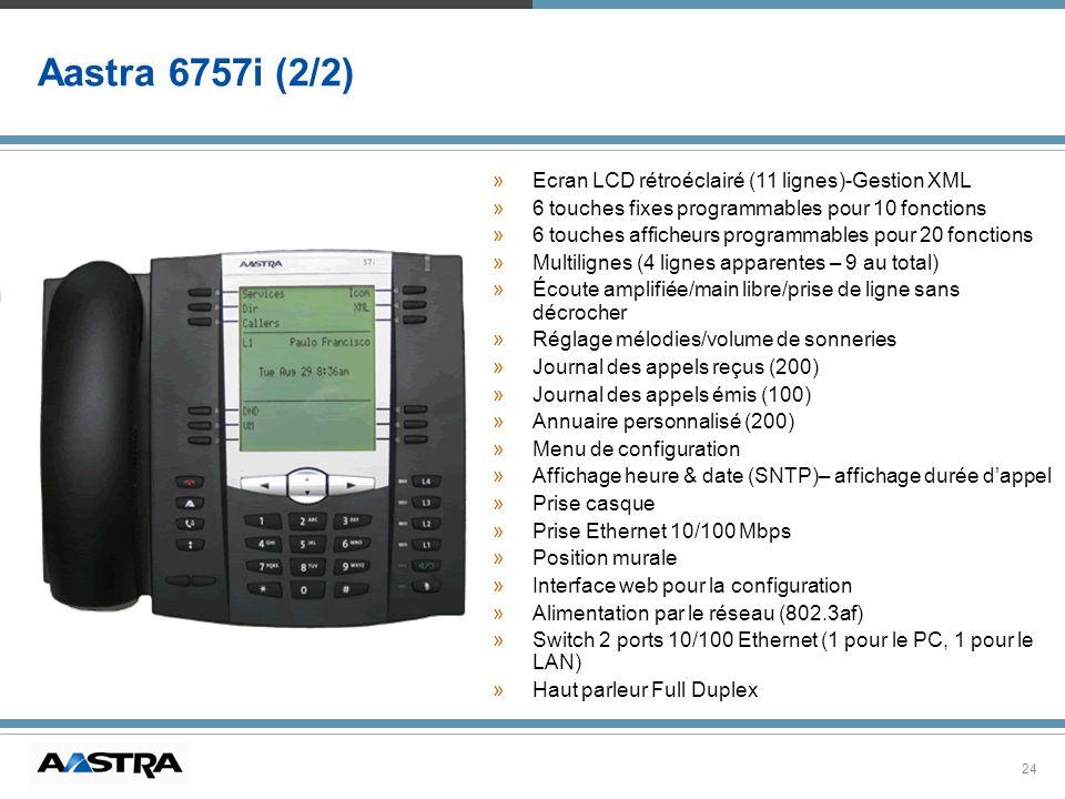 24 Aastra 6757i (2/2) » »Ecran LCD rétroéclairé (11 lignes)-Gestion XML » »6 touches fixes programmables pour 10 fonctions » »6 touches afficheurs pro