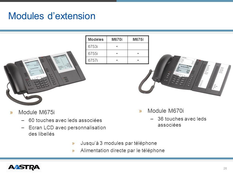 26 Modules dextension ModèlesM670iM675i 6753i 6755i 6757i » »Jusquà 3 modules par téléphone » »Alimentation directe par le téléphone » »Module M675i –