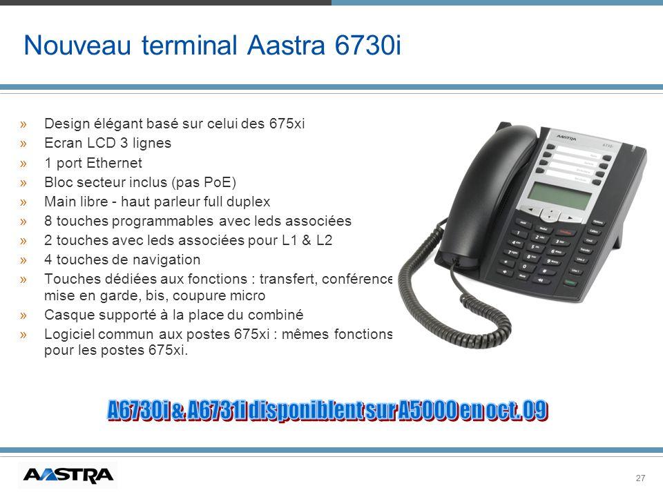 27 Nouveau terminal Aastra 6730i »Design élégant basé sur celui des 675xi »Ecran LCD 3 lignes »1 port Ethernet »Bloc secteur inclus (pas PoE) »Main li
