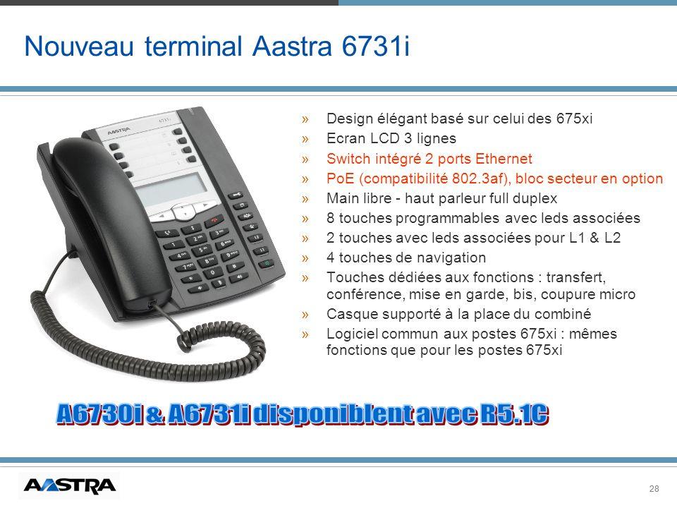 28 Nouveau terminal Aastra 6731i »Design élégant basé sur celui des 675xi »Ecran LCD 3 lignes »Switch intégré 2 ports Ethernet »PoE (compatibilité 802