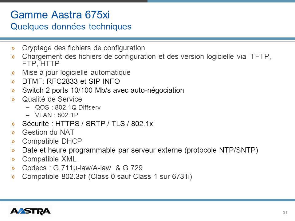 31 Gamme Aastra 675xi Quelques données techniques »Cryptage des fichiers de configuration »Chargement des fichiers de configuration et des version log