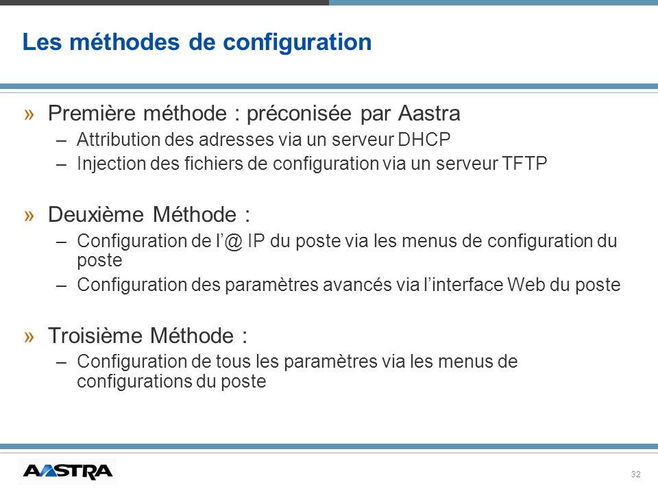 32 »Première méthode : préconisée par Aastra –Attribution des adresses via un serveur DHCP –Injection des fichiers de configuration via un serveur TFT