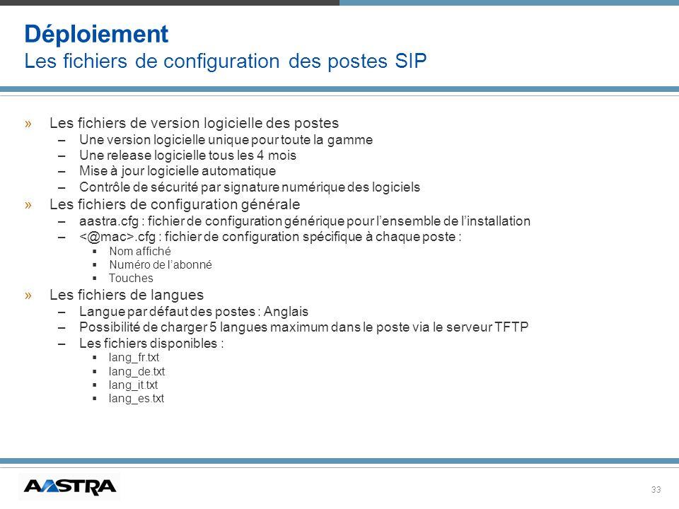 33 Déploiement Les fichiers de configuration des postes SIP »Les fichiers de version logicielle des postes –Une version logicielle unique pour toute l