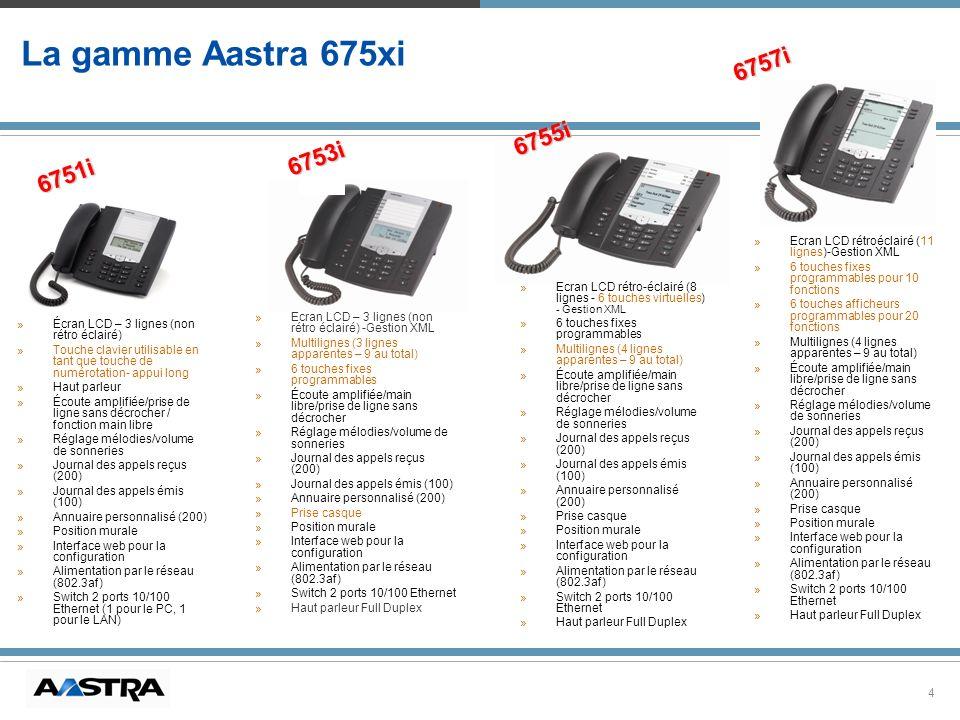 4 La gamme Aastra 675xi »Ecran LCD – 3 lignes (non rétro éclairé) -Gestion XML »Multilignes (3 lignes apparentes – 9 au total) »6 touches fixes progra