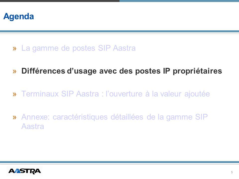 5 Agenda »La gamme de postes SIP Aastra »Différences dusage avec des postes IP propriétaires »Terminaux SIP Aastra : louverture à la valeur ajoutée »A
