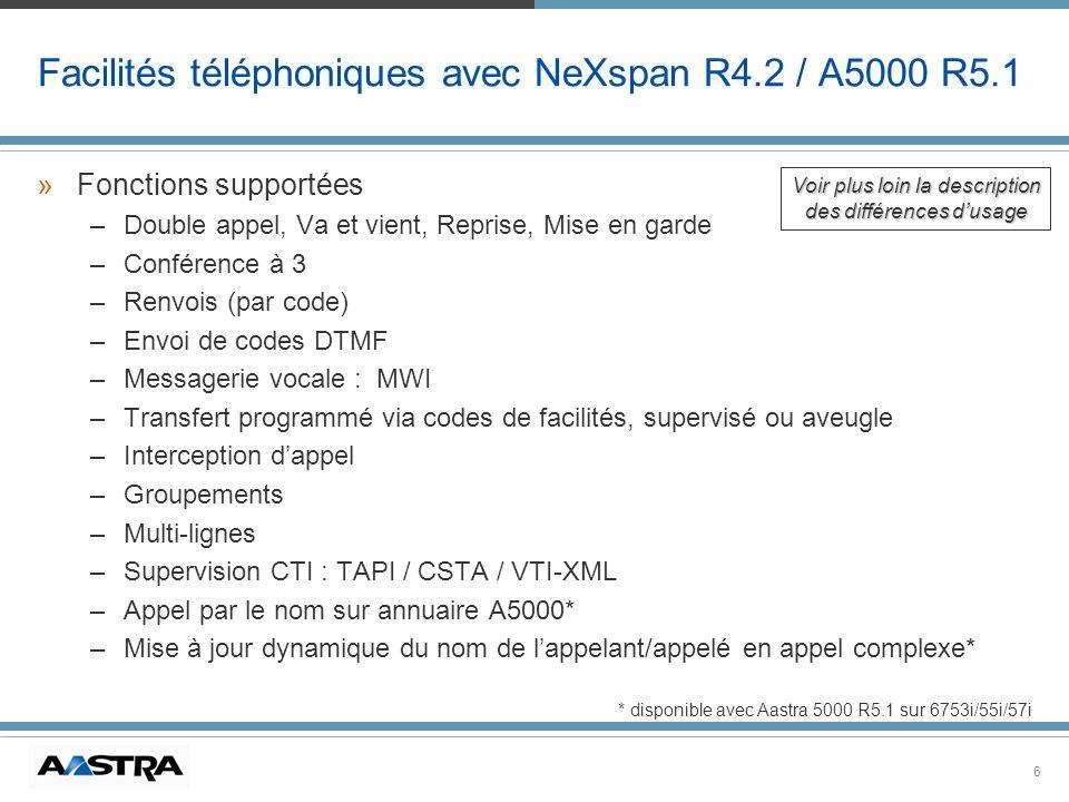 6 Facilités téléphoniques avec NeXspan R4.2 / A5000 R5.1 »Fonctions supportées –Double appel, Va et vient, Reprise, Mise en garde –Conférence à 3 –Ren