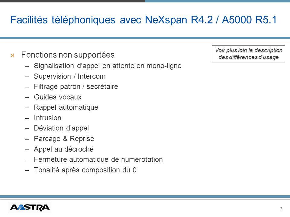 7 Facilités téléphoniques avec NeXspan R4.2 / A5000 R5.1 »Fonctions non supportées –Signalisation dappel en attente en mono-ligne –Supervision / Inter