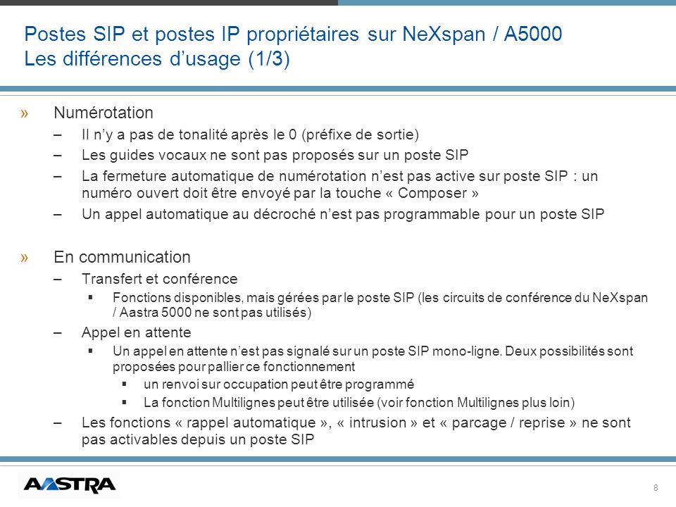 8 Postes SIP et postes IP propriétaires sur NeXspan / A5000 Les différences dusage (1/3) »Numérotation –Il ny a pas de tonalité après le 0 (préfixe de